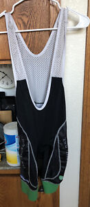 Hincapie, Men's Black/Green Cycling Bib Shorts, Size Small