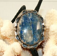 Sterling Silver Sodalite Bolo Tie with Braided Leather Cord (Bolo 145)