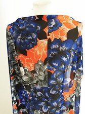 Bright Colour Block Floral Design on Polyester Chiffon Dressmaking Fabric