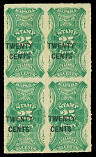 Hawaii Scott R7 1893 25c Revenue Issue Mint Block of 4 F-VF OG NH Cat $300