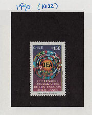 CHILE 1990 STAMP # 1432 MNH OEA FLAGS