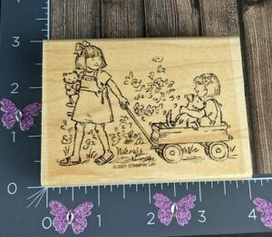 Stampin Up Rubber Stamp Friendship Grows 2001 Girl Pulling Wagon Flowers #O30