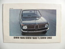 Brochure BMW 1600 / 1600 TI / 2002 de 07 / 1968 en allemand