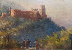 GERMAN SCHOOL Indistinctly Signed 19th Century OIL PAINTING Heidelberg Castle