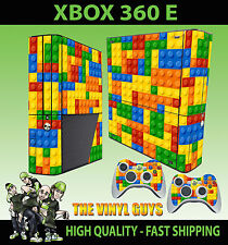 XBOX 360 E TOY BRICK WALL BUILDING BLOCKS STICKER SKIN & 2 PAD SKIN