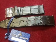 NEW Jacques Lemans Genuine  Leather  Strap 22mm black color /silver clasp