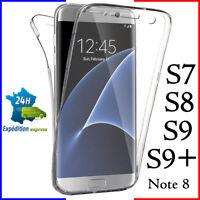 Coque tel Galaxy housse TPU 360 transparent samsung S/6/7/8/9/10/+/plus/edge/not