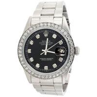 Mens Rolex 36mm DateJust Diamond Watch Oyster Steel Band Custom Black Dial 2 CT.