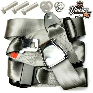 Classic Austin Mini Chrome Buckle 3 Point Adjustable Static Seat Belt Kit Grey