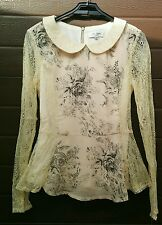 Maglia,camicia,blusa,crema, nero, pizzo, stampa, uccelli,fiori,The Style by Asos