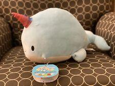 "NWT Squishmallow 12"" Narwhal Wally Rainbow Horn Stuffed Animal Plush NEW"
