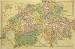 1912 LARGE ANTIQUE MAP SWITZERLAND GRISONS BERN GENEVA VALLAIS ZURICH