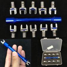 Blue Aluminum Bike Motorcycle Wheel Spoke Bars Wrench Hand Kit + 10 Popular Tips