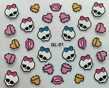 Nail Art 3D Decal Stickers Halloween Skull Bow Heart Stitches Vampire Kiss  GL01