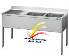 Lavello cm 160x70x85  in Acciaio Inox Lavatoio 2 Vasche + Gocciolatoio Gastro
