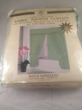 Sultan Linens Ruffled Double Swag Fabric Shower Curtain Attatched Valance Liner