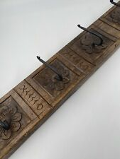 Long Antique Hand Carved Coat Towel Rack Hall Cast Iron Walnut Wood Americana