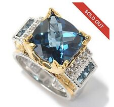 GEMS EN VOGUE 6.91CTW LONDON BLUE TOPAZ/SAPPHIRE RING WOMEN'S SIZE 5