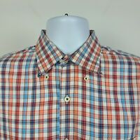 Peter Millar Red Blue Check Plaid Mens Dress Button Shirt Size Large L
