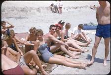 Young Swimsuit Men Women Gals Guys Fun Group On Beach Vintage 1950s Slide Photo