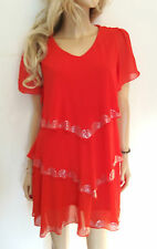 CLOCOLOR USA Size XL 16 / 18 Deep Rich Coral Simply Fab Tiered beaded TUNIC TOP