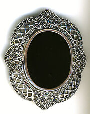 925 Sterling Silver Large Black Agate & Marcasite Brooch 22 grams W50mm x 60mm