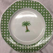"VILLEROY & BOCH HEINRICH CARIBIC CHOP PLATE 12 1/8"" PALM TREE GREEN BASKET WEAVE"