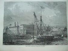 ANTIQUE PRINT C1875 THE ROYAL DOCKYARD DEPTFORD 1810 ENGRAVING LONDON OLD ART