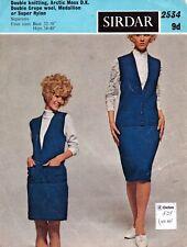 ~ Vintage 1960's Sirdar Knitting Pattern For Lady's Smart Waistcoat & Skirt ~