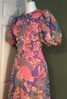 Vintage French 1970s Flower Power Maxi Evening Dress Xs 8  Puffball Sleeves