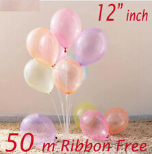 """Coloured Clear Transparent Balloon 12"""" inch Small to Huge Balloon party decor"""