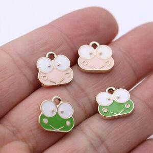10Pcs Enamel Frog Charm Pendant Jewelry Making Earrings Bracelet DIY Accessories