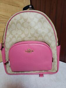 New Coach Signature Court Backpack Light Khaki Confetti Pink Gold Tone Hardware