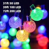 Solar 200LED String Light Outdoor Yard Garden Ball Bulb Wedding Party Festoon