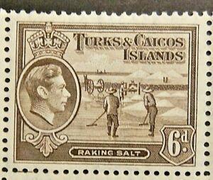 TURKS AND CAICOS ISLANDS 1945 SG201a. KGVI 6d. SEPIA  -  MNH