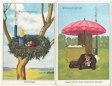 2 x AK SCHERZ um 1914 Wohnungsnot Karikatur  ( 1870