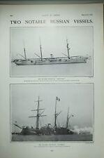 1904 Imprimé Russe Navires de Chasse Bateau Mandjur ~ Korietz