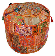 """22"""" Indian Handmade Vintage Ottoman Pouf Cover Patchwork Round Footstool Case"""