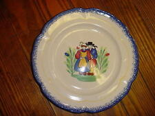 """French hand painted faience Quimper design plate by Pornic, Brittany, d-10.5"""""""