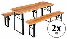 2x Set Kinder Sitzgarnitur Sitzgruppe Kindermöbel Garten Tisch Bank Holz klein