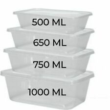 Plastic Food Containers Clear Lids Takeaway Microwave Safe Storage Tubs Boxes