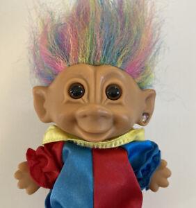 Vintage Troll Doll Rainbow Hair Clown Suit Hat Bright of America
