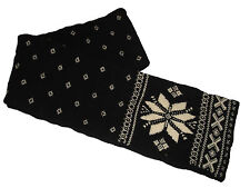 Rugby Ralph Lauren Polo Black White Floral Wool Neck Scarf