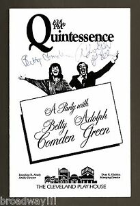 """""""A Party with BETTY COMDEN and ADOLPH GREEN"""" (Signed) 1976 Cleveland Playbill"""