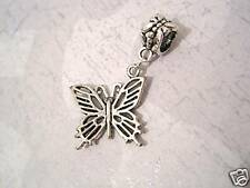 *BUTTERFLY* Large 5.5mm hole Bracelet Charm Silver