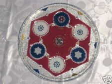 BEAUTIFUL LARGE  PASSOVER ROUND GLASS PLATE 3