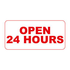 Open 24 Hours Red Retro Vintage Style Metal Sign - 8 In X 12 In With Holes