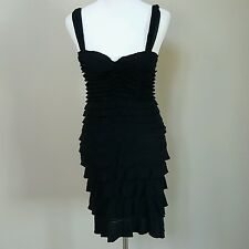 STUDIO M Black Ruffle Tiered Stretch Body-com Dress Size S SMALL