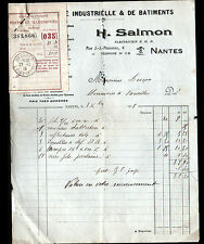 """NANTES (44) ELECTRICITE INDUSTRIELLE & de BATIMENT """"H. SALMON"""" en 1915"""