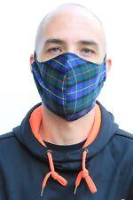 Blue Plaid Tartan Mens Large Fitted Face Mask Bandana Face Covering Quality UK B